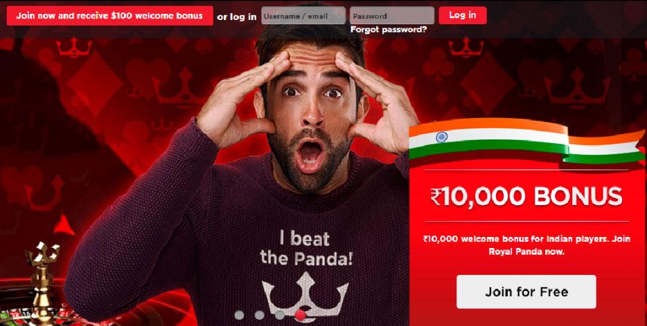 Royal Panda welcome bonus 10000rupees for betting.